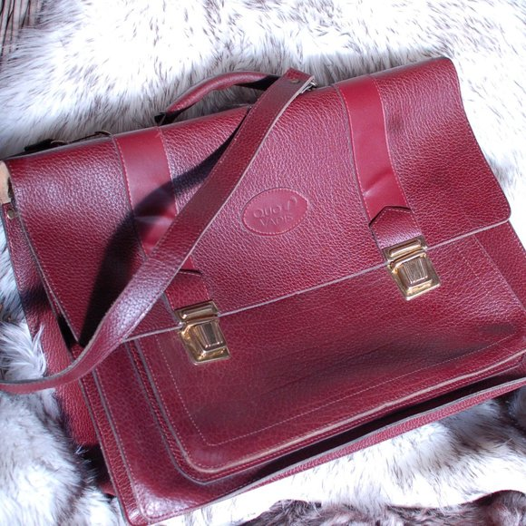 Quo Vadis Burgandy Leather Briefcase/Shoulder Bag